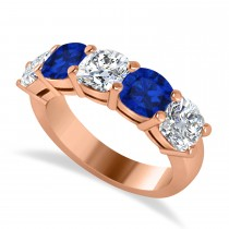 Cushion Diamond & Blue Sapphire Five Stone Ring 14k Rose Gold (4.05ct)