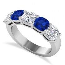 Cushion Diamond & Blue Sapphire Five Stone Ring 14k White Gold (4.05ct)