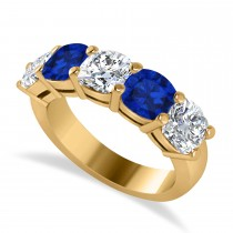 Cushion Diamond & Blue Sapphire Five Stone Ring 14k Yellow Gold (4.05ct)