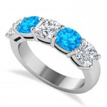 Cushion Diamond & Blue Topaz Five Stone Ring 14k White Gold (4.05ct)