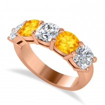 Cushion Diamond & Citrine Five Stone Ring 14k Rose Gold (4.05ct)