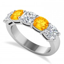 Cushion Diamond & Citrine Five Stone Ring 14k White Gold (4.05ct)