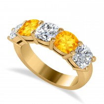 Cushion Diamond & Citrine Five Stone Ring 14k Yellow Gold (4.05ct)