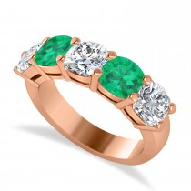 Cushion Diamond & Emerald Five Stone Ring 14k Rose Gold (4.05ct)