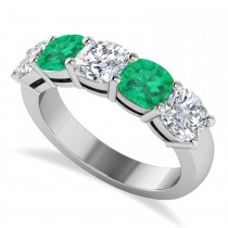 Cushion Diamond & Emerald Five Stone Ring 14k White Gold (4.05ct)