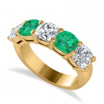 Cushion Diamond & Emerald Five Stone Ring 14k Yellow Gold (4.05ct)
