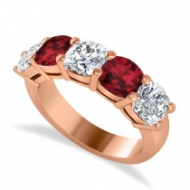Cushion Diamond & Garnet Five Stone Ring 14k Rose Gold (4.05ct)
