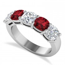 Cushion Diamond & Garnet Five Stone Ring 14k White Gold (4.05ct)