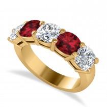 Cushion Diamond & Garnet Five Stone Ring 14k Yellow Gold (4.05ct)