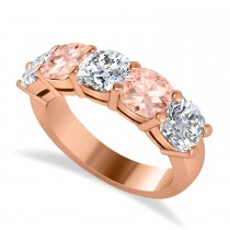 Cushion Diamond & Morganite Five Stone Ring 14k Rose Gold (4.05ct)
