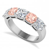 Cushion Diamond & Morganite Five Stone Ring 14k White Gold (4.05ct)