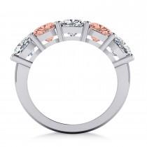 Cushion Diamond & Morganite Five Stone Ring 14k White Gold (4.05ct)|escape