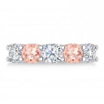 Cushion Diamond & Morganite Five Stone Ring 14k White Gold (4.05ct)