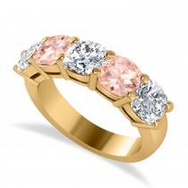 Cushion Diamond & Morganite Five Stone Ring 14k Yellow Gold (4.05ct)