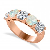Cushion Diamond & Opal Five Stone Ring 14k Rose Gold (4.05ct)