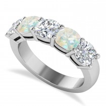 Cushion Diamond & Opal Five Stone Ring 14k White Gold (4.05ct)
