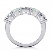 Cushion Diamond & Opal Five Stone Ring 14k White Gold (4.05ct)