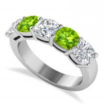 Cushion Diamond & Peridot Five Stone Ring 14k White Gold (4.05ct)