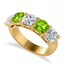 Cushion Diamond & Peridot Five Stone Ring 14k Yellow Gold (4.05ct)