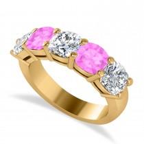 Cushion Diamond & Pink Sapphire Five Stone Ring 14k Yellow Gold (4.05ct)