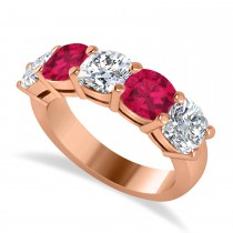 Cushion Diamond & Ruby Five Stone Ring 14k Rose Gold (4.05ct)