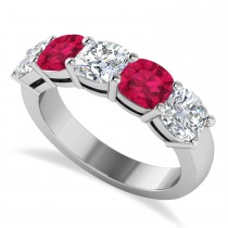 Cushion Diamond & Ruby Five Stone Ring 14k White Gold (4.05ct)