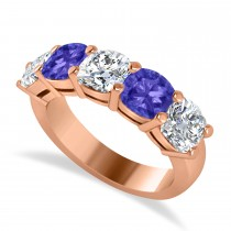 Cushion Diamond & Tanzanite Five Stone Ring 14k Rose Gold (4.05ct)