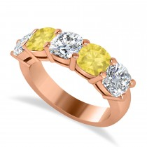 Cushion Yellow & White Diamond Five Stone Ring 14k Rose Gold (3.75ct)
