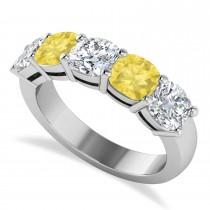 Cushion Yellow & White Diamond Five Stone Ring 14k White Gold (3.75ct)