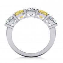 Cushion Yellow & White Diamond Five Stone Ring 14k White Gold (3.75ct)|escape