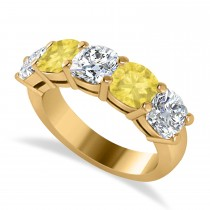 Cushion Yellow & White Diamond Five Stone Ring 14k Yellow Gold (3.75ct)