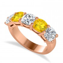 Cushion Diamond & Yellow Sapphire Five Stone Ring 14k Rose Gold (4.05ct)