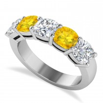 Cushion Diamond & Yellow Sapphire Five Stone Ring 14k White Gold (4.05ct)