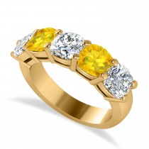 Cushion Diamond & Yellow Sapphire Five Stone Ring 14k Yellow Gold (4.05ct)