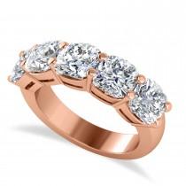 Cushion Diamond Five Stone Wedding Band 14k Rose Gold (5.00ct)