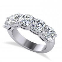 Cushion Diamond Five Stone Wedding Band 14k White Gold (5.00ct)
