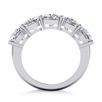 Cushion Diamond Five Stone Wedding Band 14k White Gold (5.00ct)