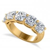 Cushion Diamond Five Stone Wedding Band 14k Yellow Gold (5.00ct)
