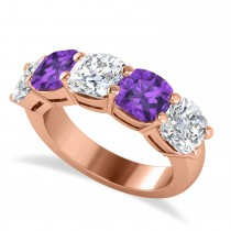 Cushion Diamond & Amethyst Five Stone Ring 14k Rose Gold (5.20ct)