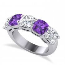 Cushion Diamond & Amethyst Five Stone Ring 14k White Gold (5.20ct)