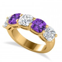 Cushion Diamond & Amethyst Five Stone Ring 14k Yellow Gold (5.20ct)