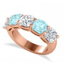 Cushion Diamond & Aquamarine Five Stone Ring 14k Rose Gold (5.20ct)
