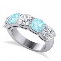 Cushion Diamond & Aquamarine Five Stone Ring 14k White Gold (5.20ct)