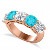Cushion Blue & White Diamond Five Stone Ring 14k Rose Gold (5.00ct)