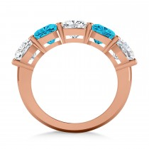 Cushion Blue & White Diamond Five Stone Ring 14k Rose Gold (5.00ct)|escape