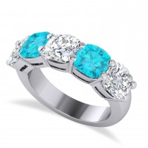 Cushion Blue & White Diamond Five Stone Ring 14k White Gold (5.00ct)