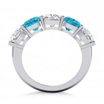 Cushion Blue & White Diamond Five Stone Ring 14k White Gold (5.00ct)