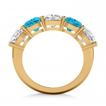 Cushion Blue & White Diamond Five Stone Ring 14k Yellow Gold (5.00ct)