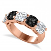 Cushion Black & White Diamond Five Stone Ring 14k Rose Gold (5.00ct)