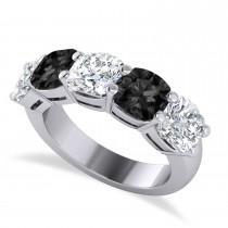 Cushion Black & White Diamond Five Stone Ring 14k White Gold (5.00ct)